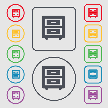 nightstand: Nightstand icon sign. symbol on the Round and square buttons with frame. Vector illustration