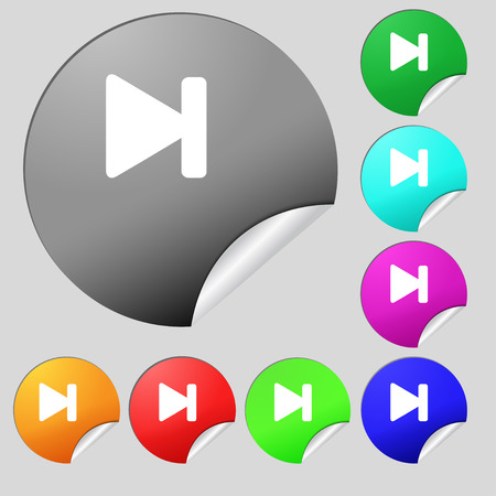 rewind: next track  icon sign. Set of eight multi-colored round buttons, stickers. Vector illustration