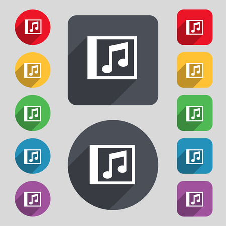 file types: Audio, MP3 file icon sign. A set of 12 colored buttons and a long shadow. Flat design. Vector illustration Illustration