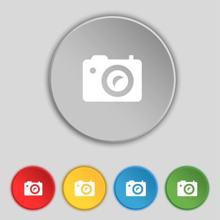digital photo: Digital photo camera icon sign. Symbol on five flat buttons. Vector illustration