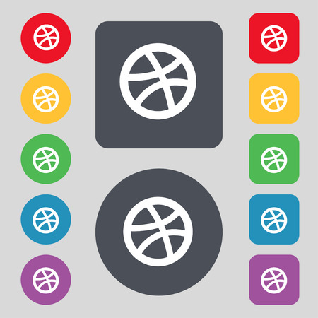 Basketball icon sign. A set of 12 colored buttons. Flat design. Vector illustration Иллюстрация