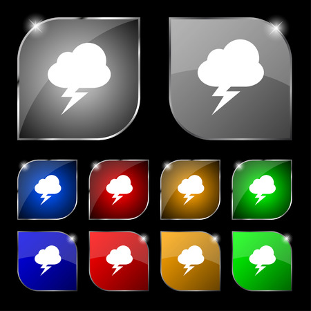 discharges: storm icon sign. Set of ten colorful buttons with glare. Vector illustration Illustration
