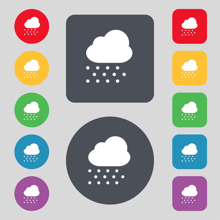 predict: snowing icon sign. A set of 12 colored buttons. Flat design. Vector illustration