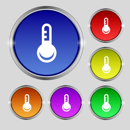 hotness: Thermometer, Temperature icon sign. Round symbol on bright colourful buttons. Vector illustration