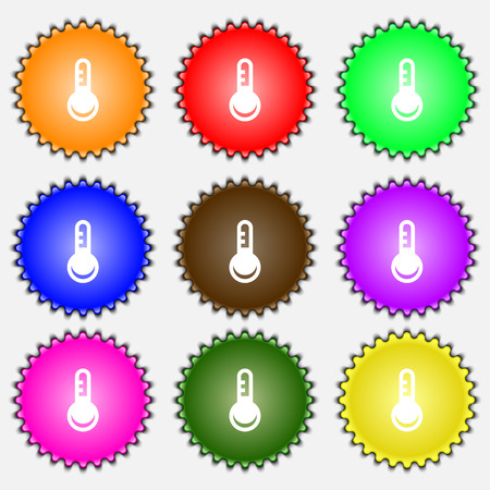 hotness: Thermometer, Temperature  icon sign. A set of nine different colored labels. Vector illustration Illustration