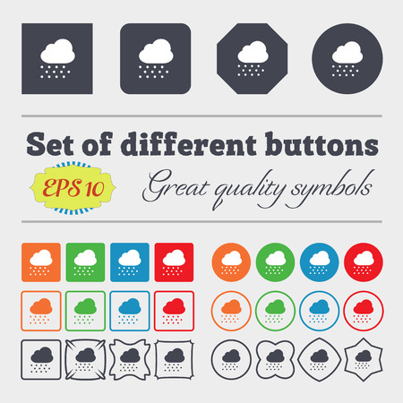 snowing: snowing  icon sign Big set of colorful, diverse, high-quality buttons. Vector illustration