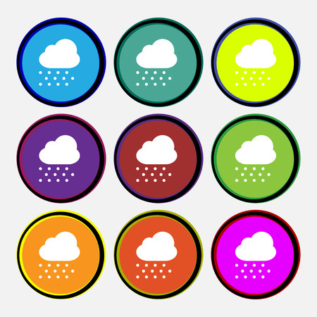 snowing: snowing  icon sign. Nine multi-colored round buttons. Vector illustration Illustration