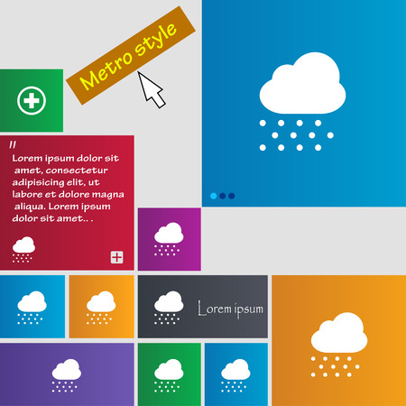 stormy clouds: snowing icon sign. Metro style buttons. Modern interface website buttons with cursor pointer. Vector illustration