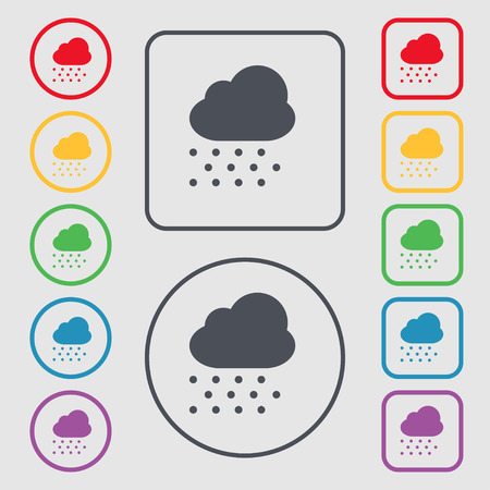 stormy clouds: snowing icon sign. symbol on the Round and square buttons with frame. Vector illustration Illustration