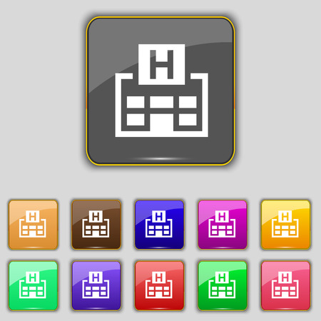 big break: Hotkey icon sign. Set with eleven colored buttons for your site. Vector illustration