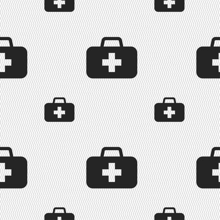 medicine chest: medicine chest icon sign. Seamless pattern with geometric texture. Vector illustration