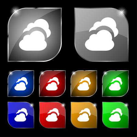 simplus: Nube signo icono. Conjunto de diez botones de colores con reflejos. Ilustraci�n vectorial