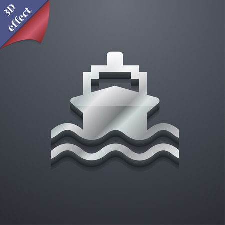 brigantine: ship  icon symbol. 3D style. Trendy, modern design with space for your text Vector illustration