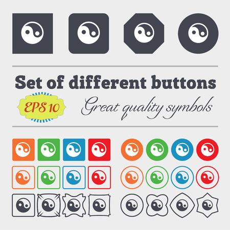 yin y yang: Ying yang icono firmar Gran conjunto de coloridos botones diversos, y de alta calidad. Ilustración vectorial