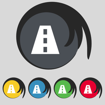 bitumen: Road icon sign. Symbol on five colored buttons. Vector illustration
