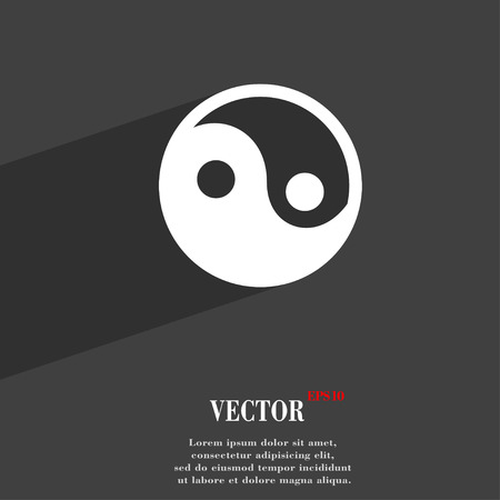 daoism: Ying yang  icon symbol Flat modern web design with long shadow and space for your text. Vector illustration Illustration