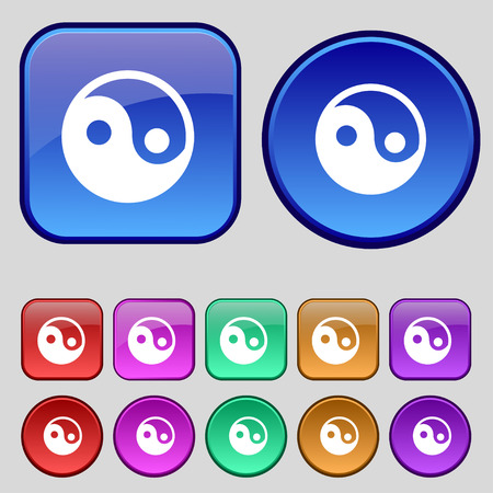 ying yan: Ying yang icon sign. A set of twelve vintage buttons for your design. Vector illustration