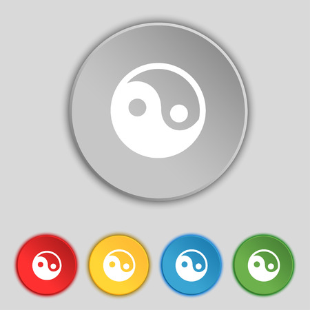 taoism: Ying yang icon sign. Symbol on five flat buttons. Vector illustration