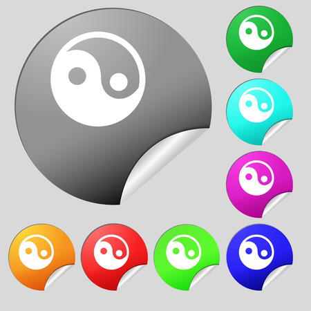 daoism: Ying yang  icon sign. Set of eight multi-colored round buttons, stickers. Vector illustration