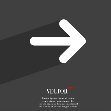 next icon: Arrow right, Next  icon symbol Flat modern web design with long shadow and space for your text. Vector illustration