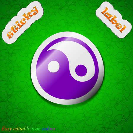 daoism: Ying yang  icon sign. Symbol chic colored sticky label on green background. Vector illustration