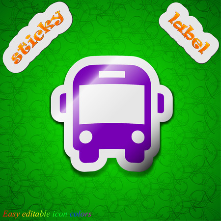 schoolbus: Bus  icon sign. Symbol chic colored sticky label on green background. Vector illustration