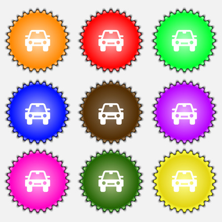 coupe: Auto  icon sign. A set of nine different colored labels. Vector illustration