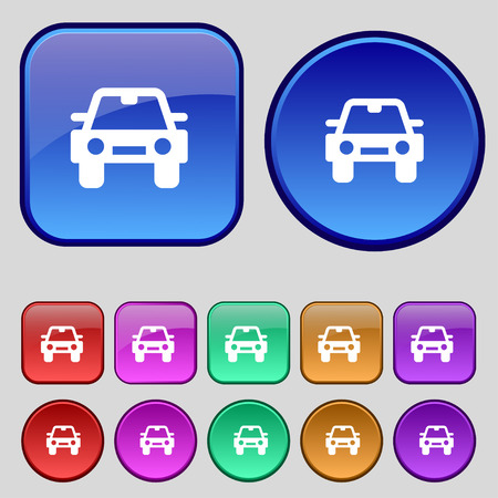 coupe: Auto icon sign. A set of twelve vintage buttons for your design. Vector illustration Illustration
