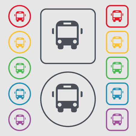 schoolbus: Bus icon sign. symbol on the Round and square buttons with frame. Vector illustration