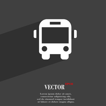 schoolbus: Bus  icon symbol Flat modern web design with long shadow and space for your text. Vector illustration