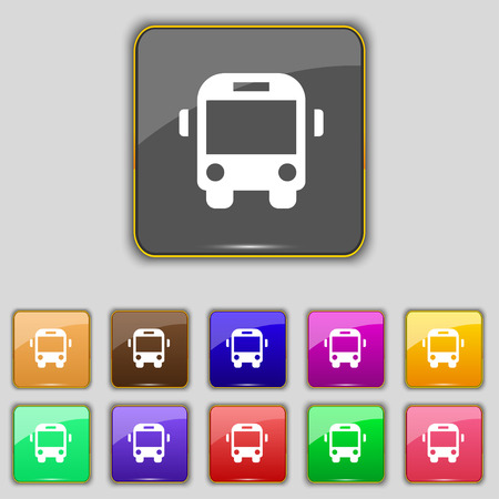 schoolbus: Bus icon sign. Set with eleven colored buttons for your site. Vector illustration Illustration