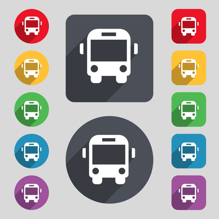 schoolbus: Bus icon sign. A set of 12 colored buttons and a long shadow. Flat design. Vector illustration