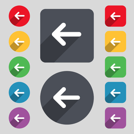 way out: Arrow left, Way out icon sign. A set of 12 colored buttons and a long shadow. Flat design. Vector illustration Illustration