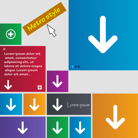 down load: Arrow down, Download, Load, Backupicon sign. Metro style buttons. Modern interface website buttons with cursor pointer. Vector illustration Illustration