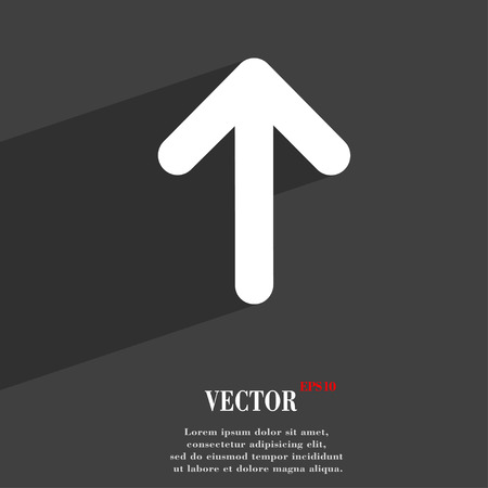 web side: Arrow up, This side up  icon symbol Flat modern web design with long shadow and space for your text. Vector illustration