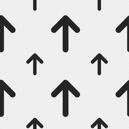 this side up: Arrow up, This side up icon sign. Seamless pattern with geometric texture. Vector illustration