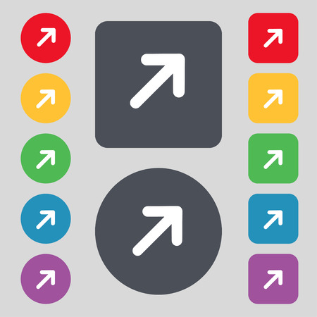 expand: Arrow Expand Full screen Scale icon sign. A set of 12 colored buttons. Flat design. Vector illustration