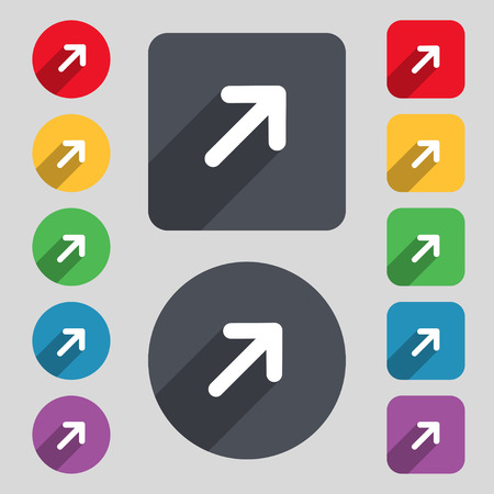maximize: Arrow Expand Full screen Scale icon sign. A set of 12 colored buttons and a long shadow. Flat design. Vector illustration Illustration