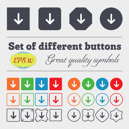 down load: Arrow down, Download, Load, Backup icon sign Big set of colorful, diverse, high-quality buttons. Vector illustration Illustration