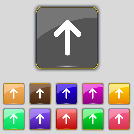 this side up: Arrow up, This side up icon sign. Set with eleven colored buttons for your site. Vector illustration