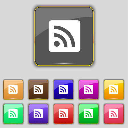 rss feed: RSS feed icon sign. Set with eleven colored buttons for your site. Vector illustration Illustration
