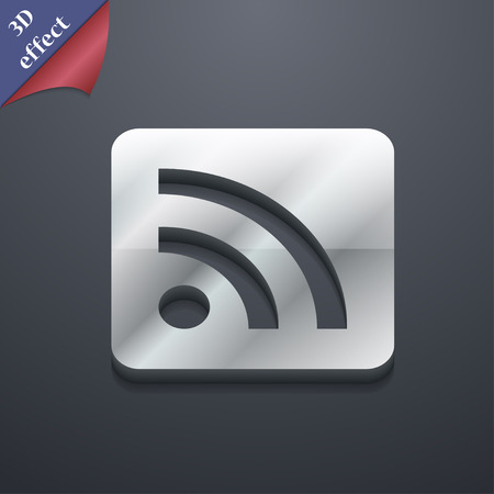 rss feed icon: RSS feed  icon symbol. 3D style. Trendy, modern design with space for your text Vector illustration