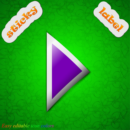 inactive: play button  icon sign. Symbol chic colored sticky label on green background. Vector illustration