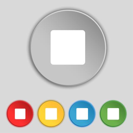 boton stop: detener bot�n icono de la muestra. S�mbolo de los cinco botones planos. Ilustraci�n vectorial