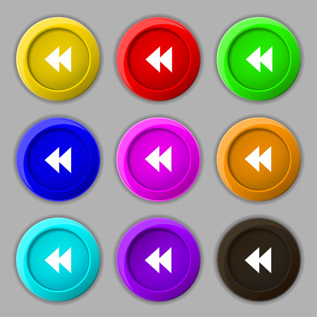 rewind: rewind icon sign. symbol on nine round colourful buttons. Vector illustration