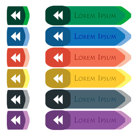 modules: rewind  icon sign. Set of colorful, bright long buttons with additional small modules. Flat design. Vector
