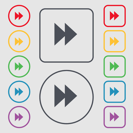 rewind: rewind icon sign. symbol on the Round and square buttons with frame. Vector illustration