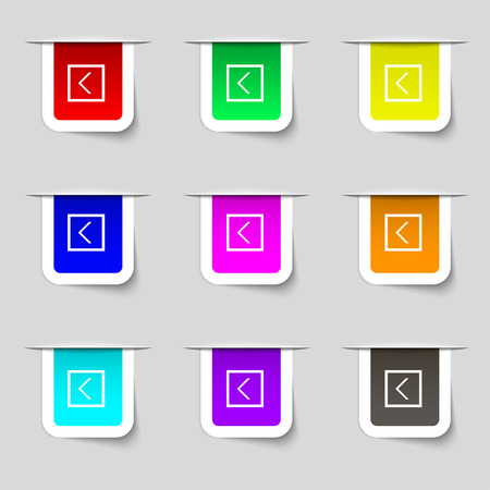 way out: Arrow left, Way out icon sign. Set of multicolored modern labels for your design. Vector illustration