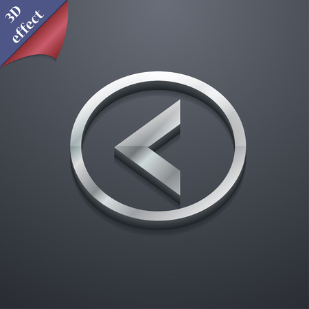 way out: Arrow left, Way out  icon symbol. 3D style. Trendy, modern design with space for your text Vector illustration