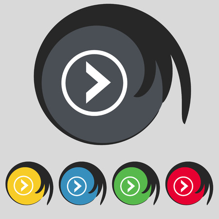 next icon: Arrow right, Next icon sign. Symbol on five colored buttons. Vector illustration